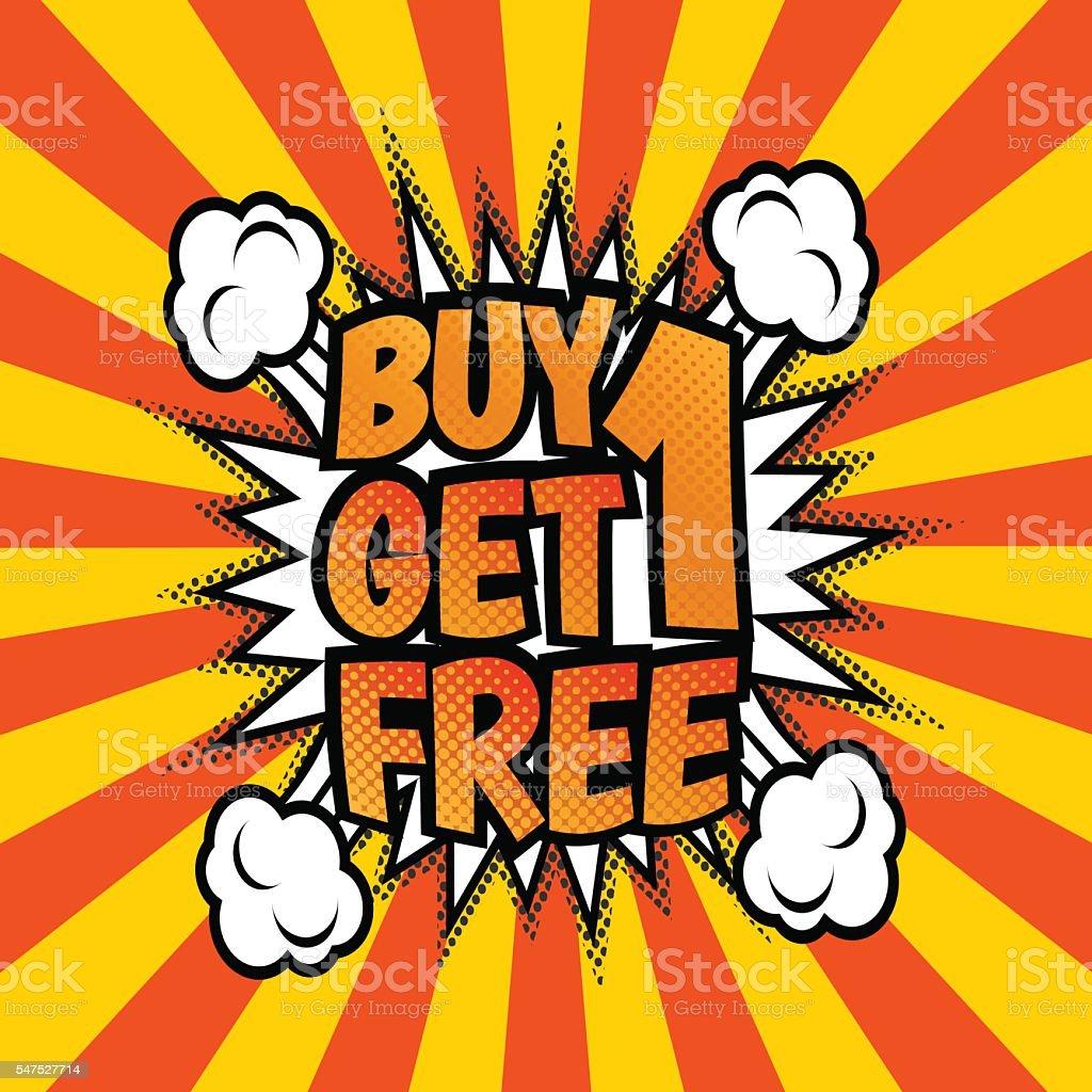 Buy one get 1 free poster vector art illustration