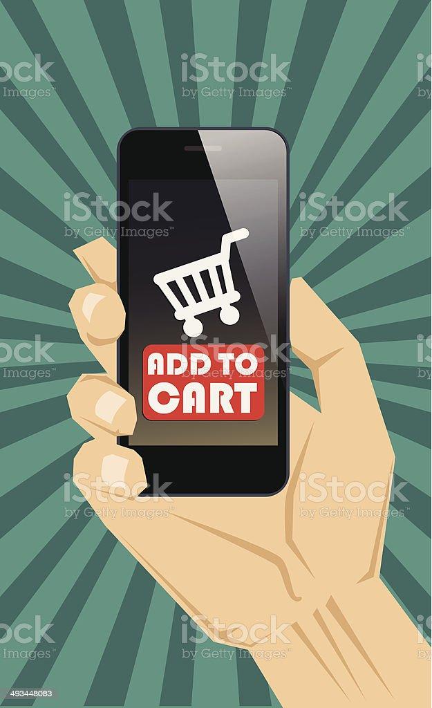 Acheter avec un smartphone stock vecteur libres de droits libre de droits