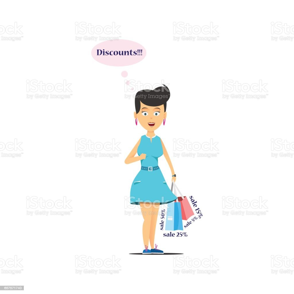 Buyer. Girl with shopping bags from the store. vector art illustration
