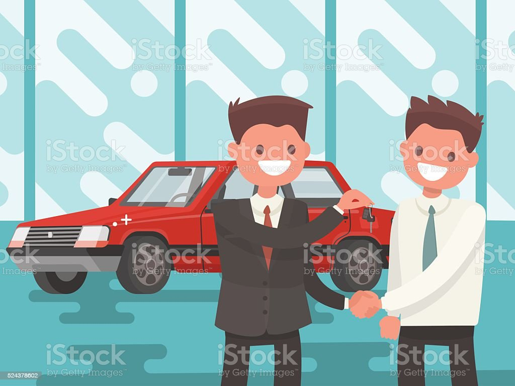 Buying a car. Handing of car keys. Vector illustration vector art illustration