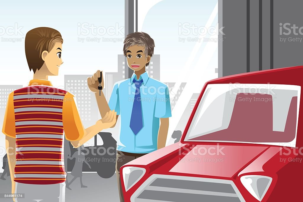 Buying a car vector art illustration