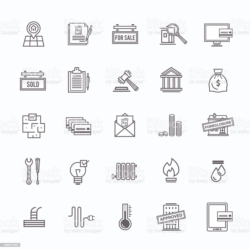 Buying a home outline icons set vector art illustration