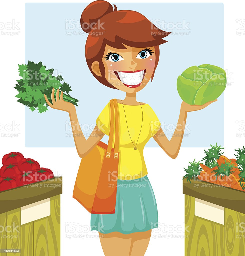 buying vegetables royalty-free stock vector art