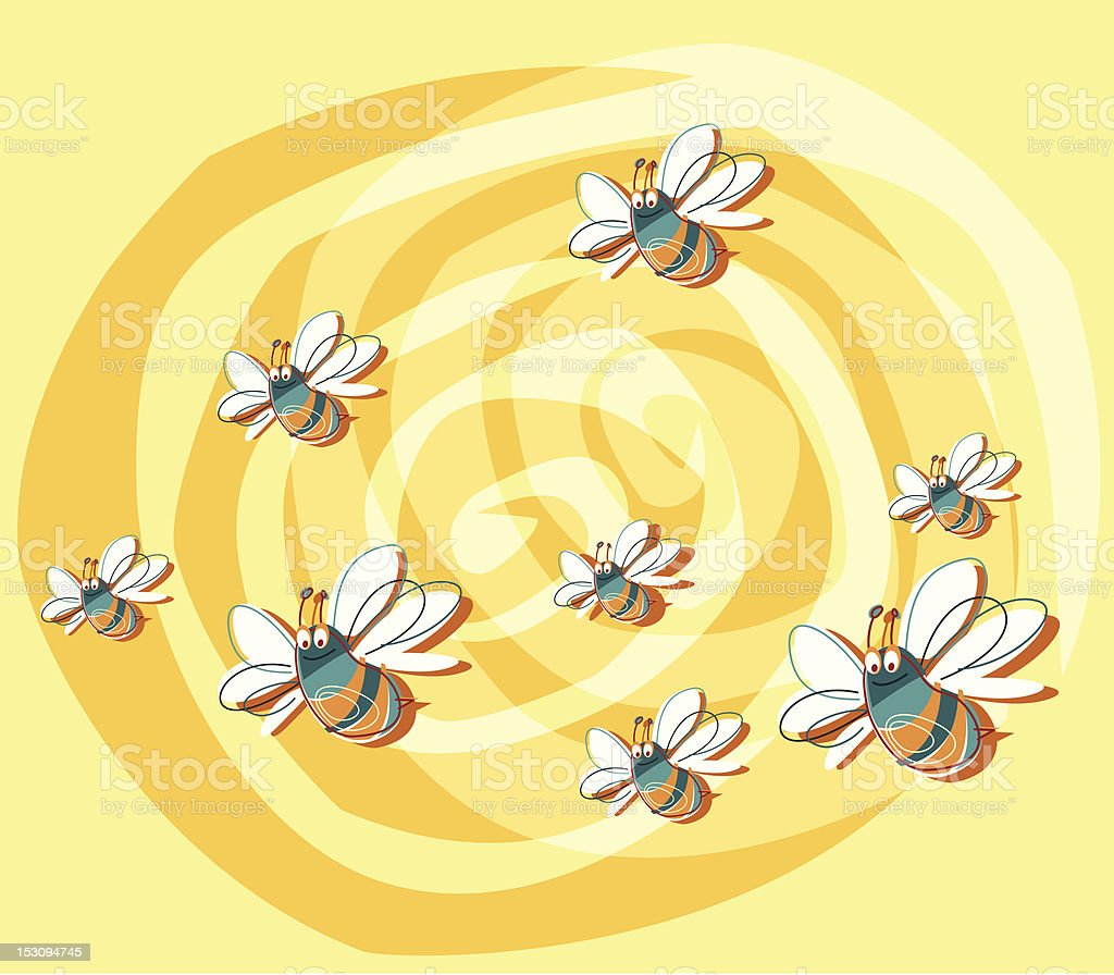 Buzzing bees vector art illustration