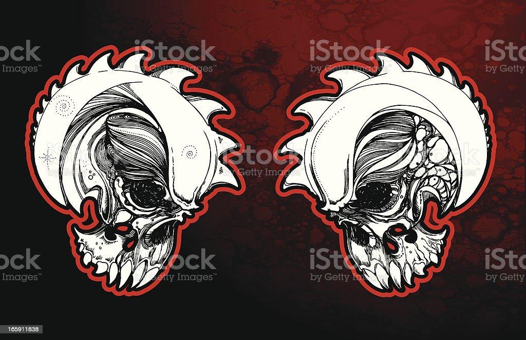 Buzzsaw Skulls royalty-free stock vector art