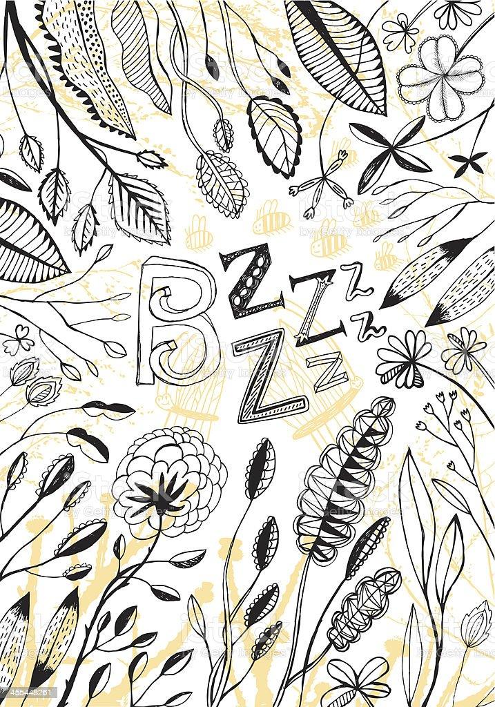 Buzzy bees vector art illustration