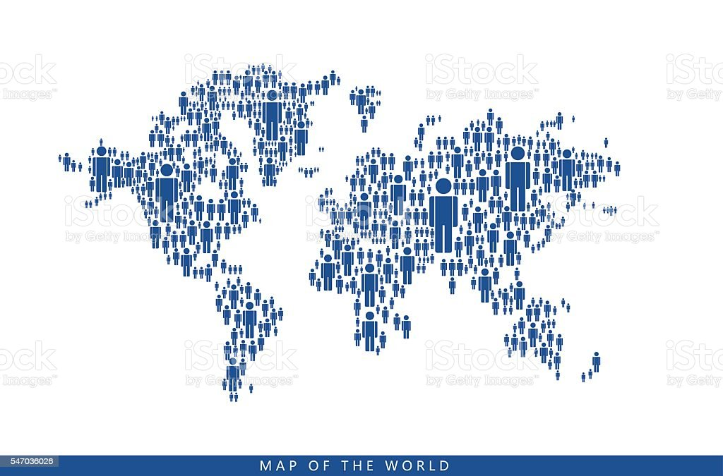 By the people makes up  world map vector art illustration
