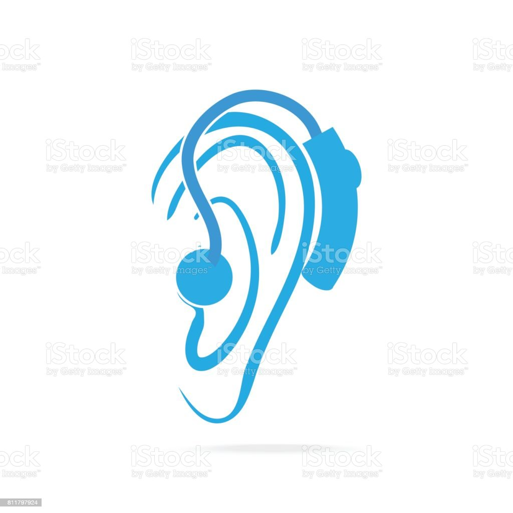 c00Wearing hearing aid blue icon, Hearing and ear icon vector art illustration