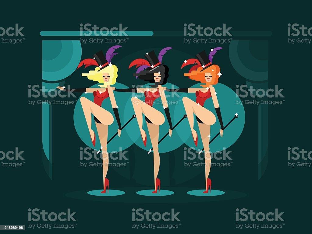 Cabaret dance girls vector art illustration