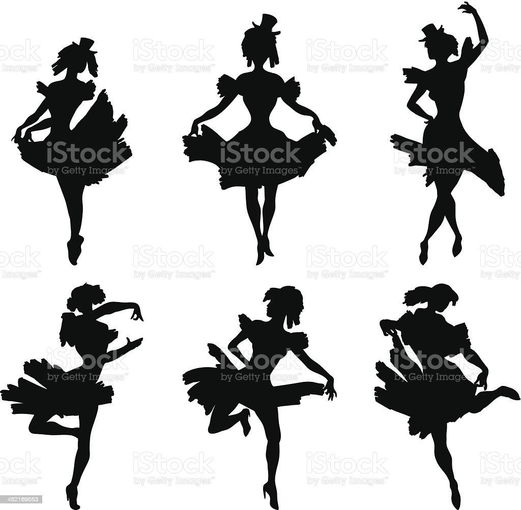 Conjunto de silhuetas vetor de Dança de cabaré vetor e ilustração royalty-free royalty-free