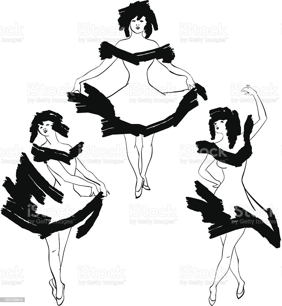 Cabaret dancer vector silhouettes set royalty-free stock vector art