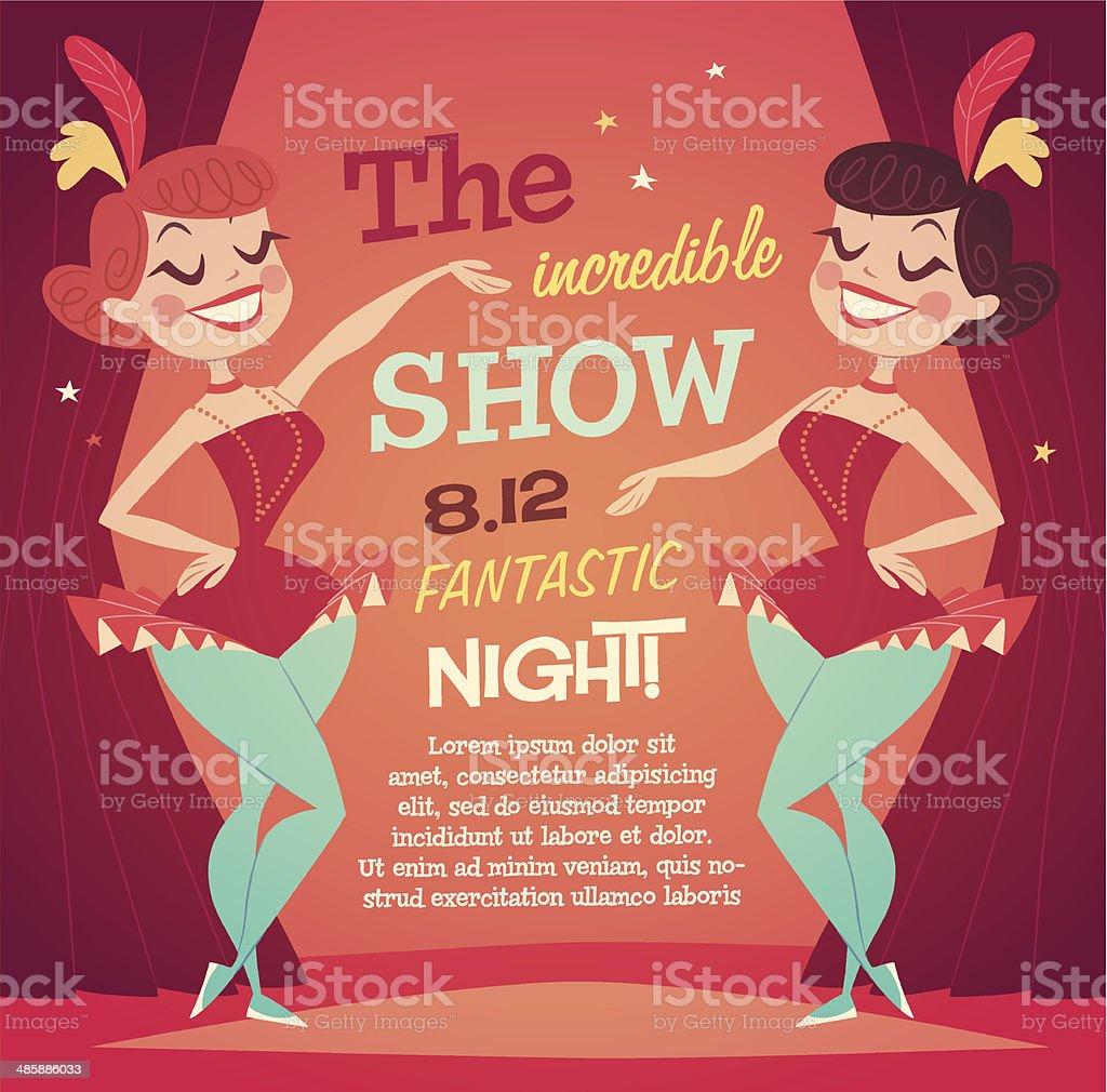 Cabaret Ladies poster vector art illustration