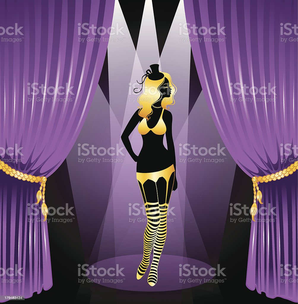Cabaret woman silhouette royalty-free stock vector art
