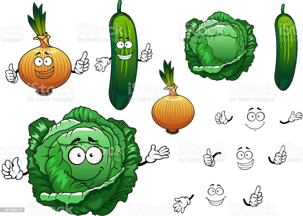 Cabbage, cucumber and onion vegetables vector art illustration
