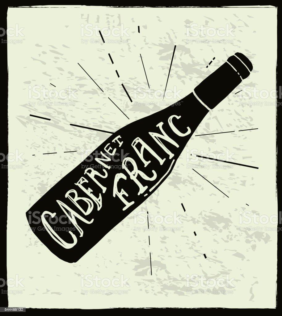 Cabernet Franc Wine bottle label hand lettering design vector art illustration