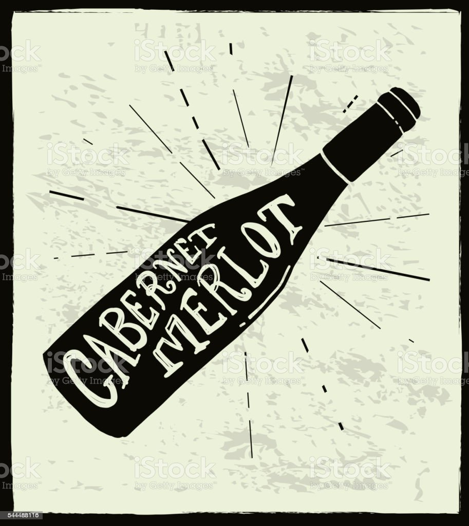 Cabernet Merlot Wine bottle label hand lettering design vector art illustration