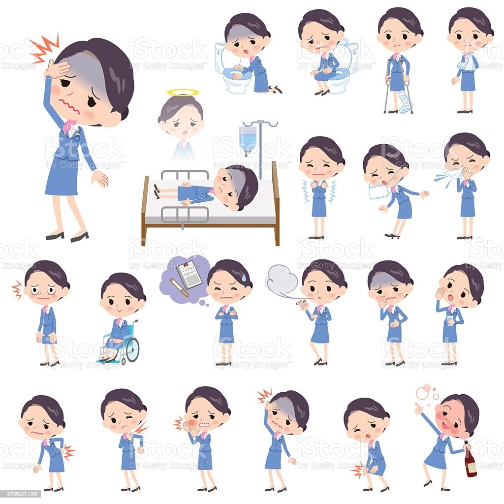 Cabin attendant blue woman sickness vector art illustration