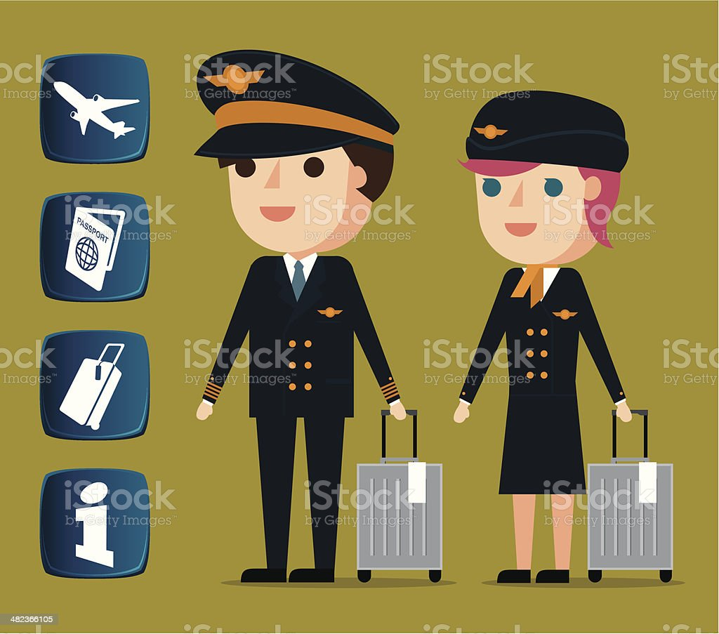 Cabin crew and related icons royalty-free stock vector art