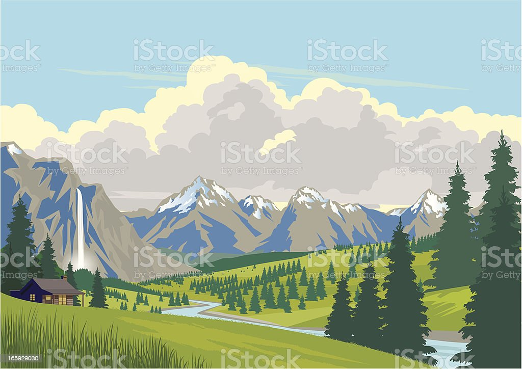 Cabin in the Mountains vector art illustration