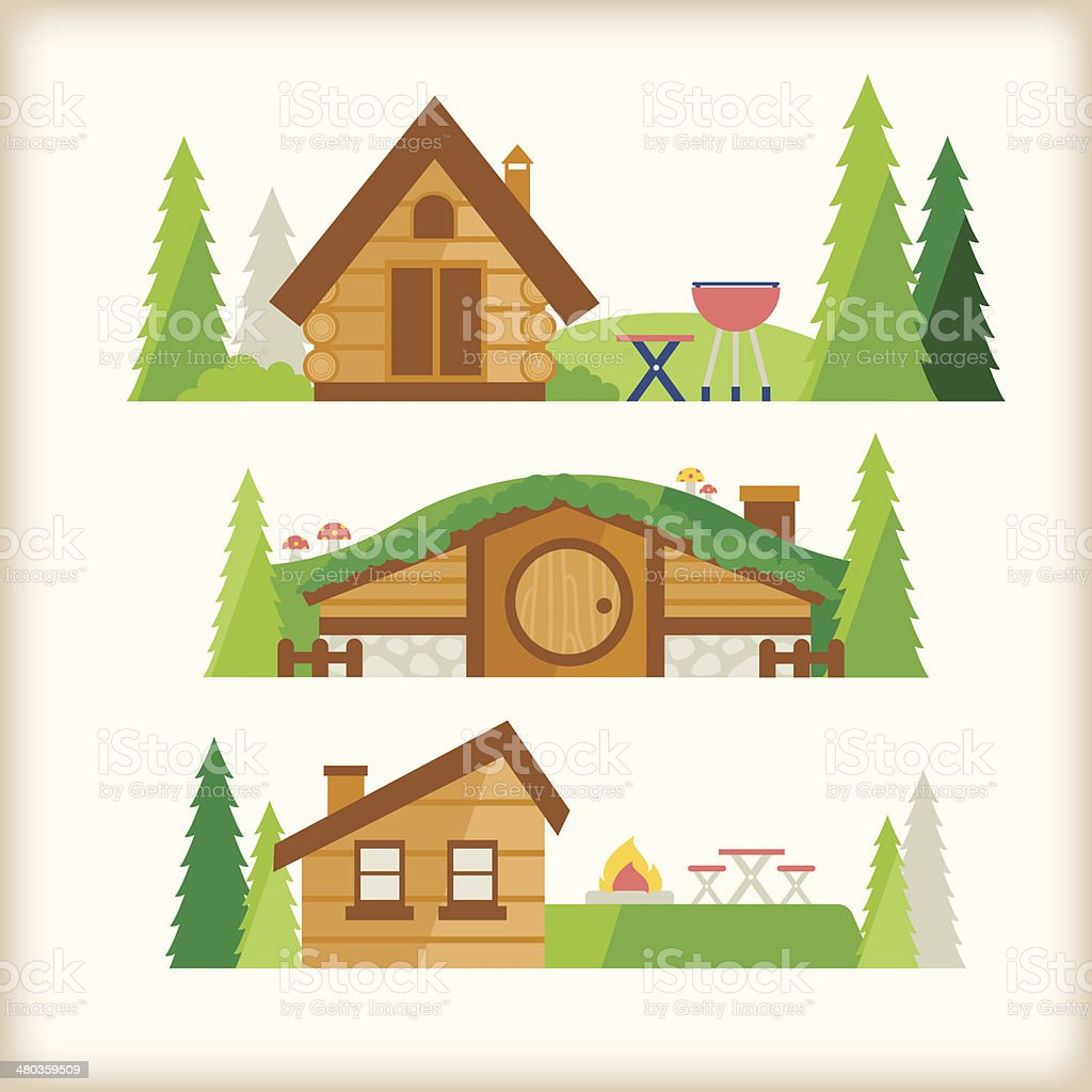 cabin in the valley vector art illustration