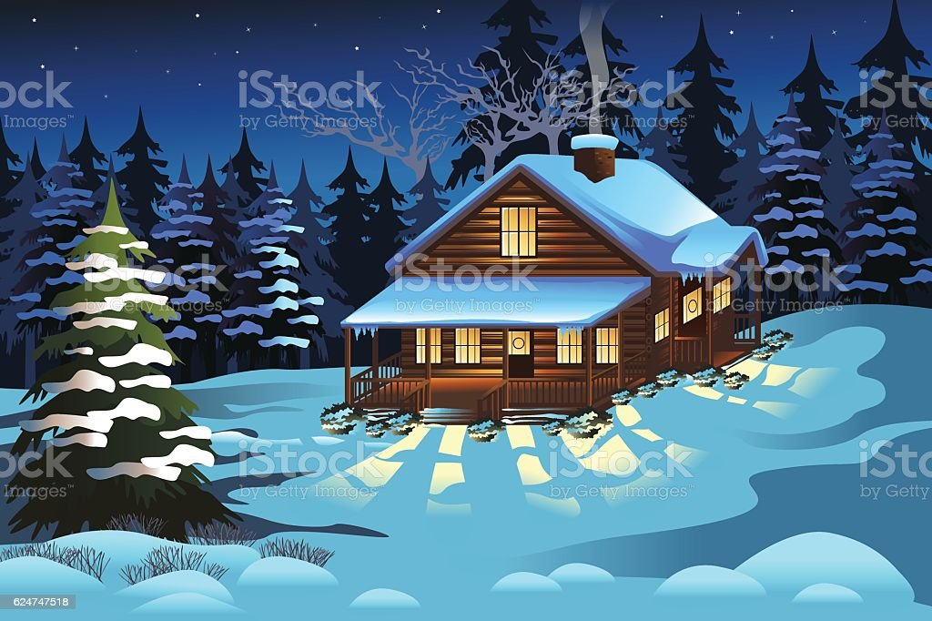Cabin in the Woods During Winter Season vector art illustration