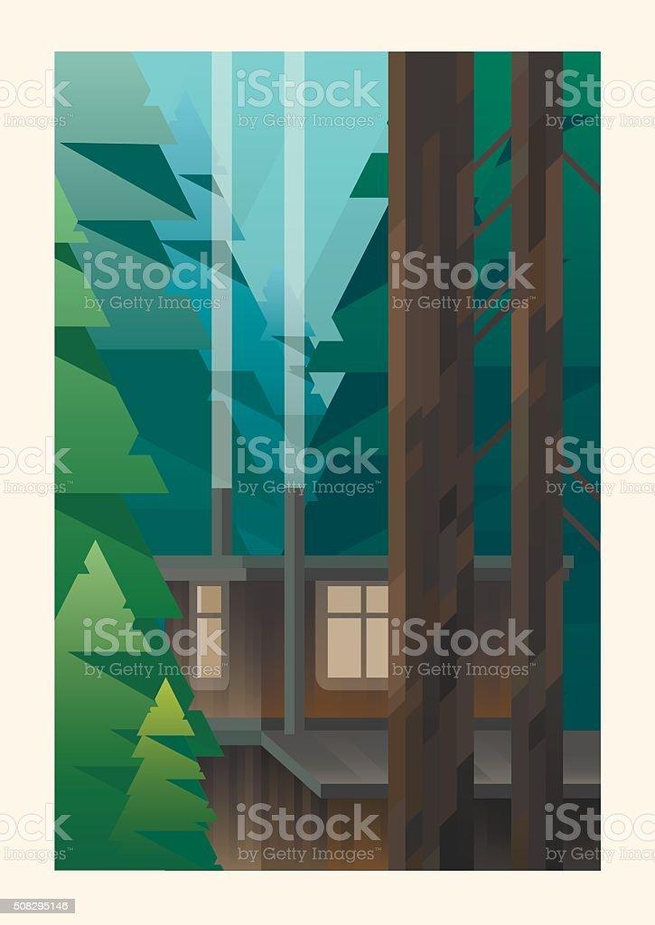 Cabin in the woods vector art illustration