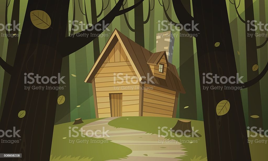 Cabin in woods vector art illustration