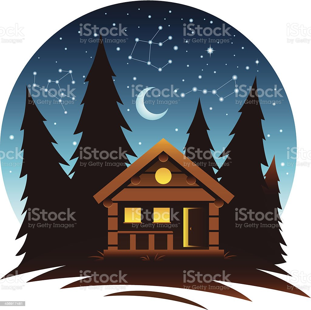 Cabin Scene at Dark vector art illustration