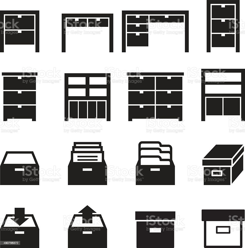 Cabinet & storage icon set vector art illustration