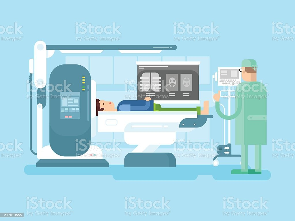 Cabinet with an MRI device vector art illustration