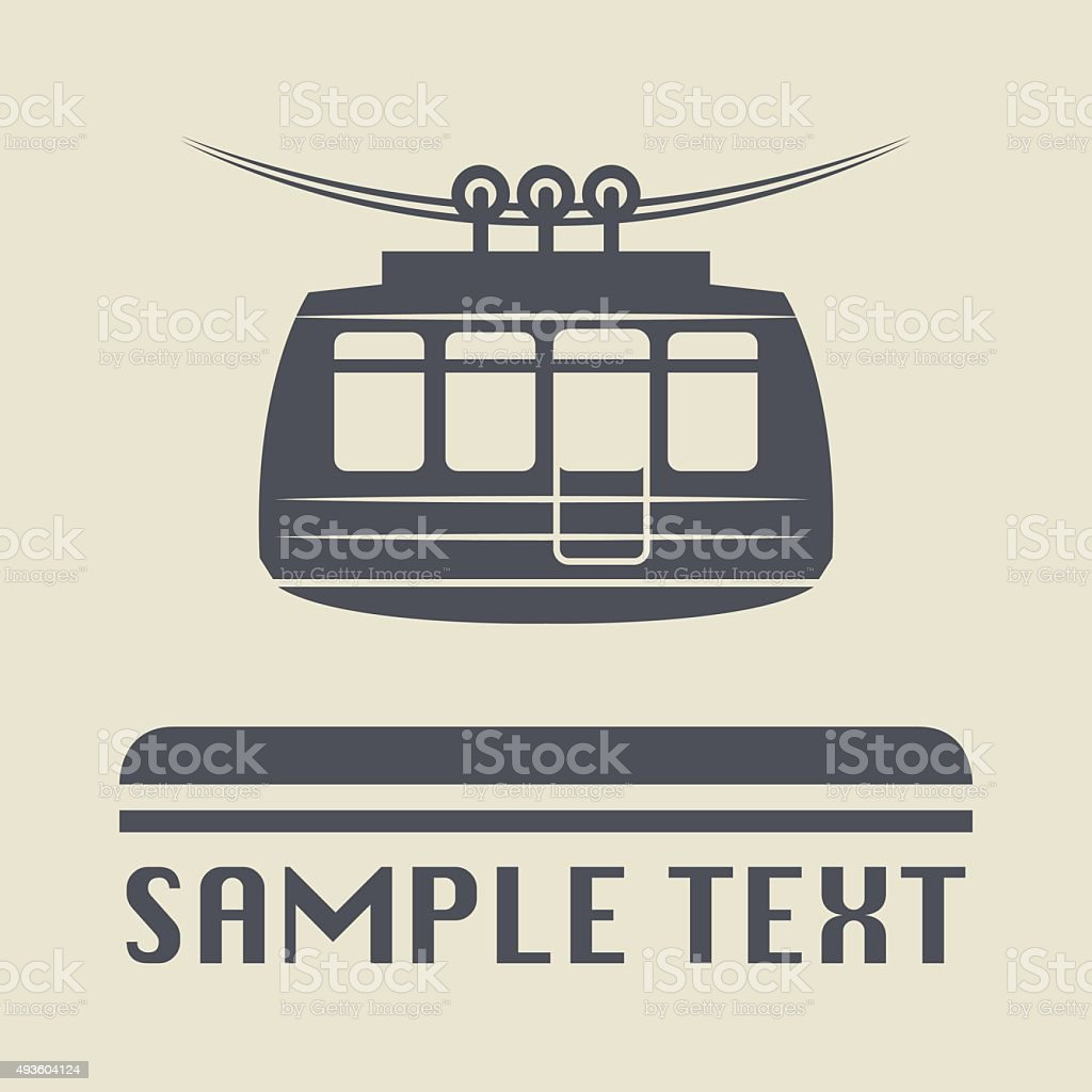 Cable car icon or sign vector art illustration