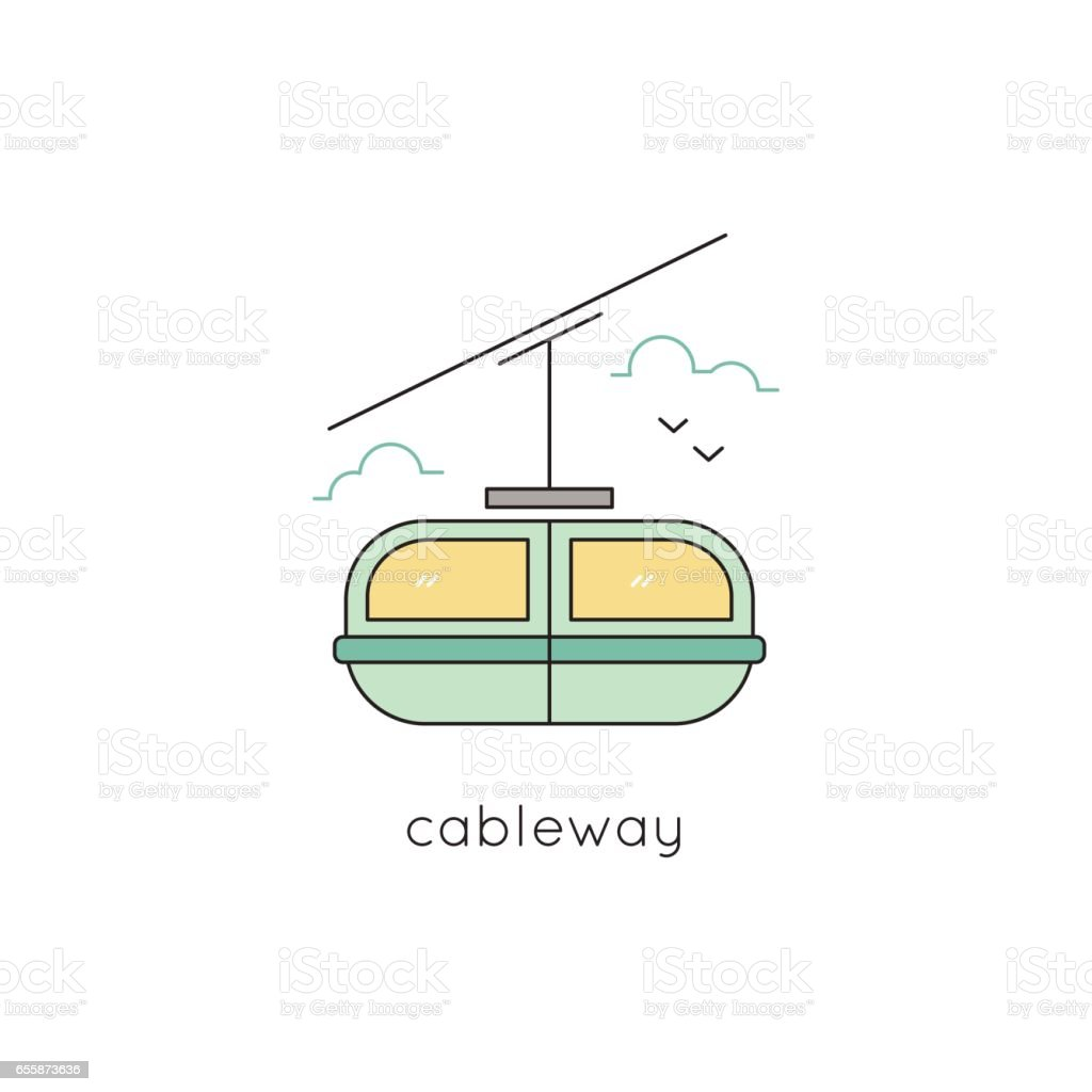 Cable car line icon vector art illustration