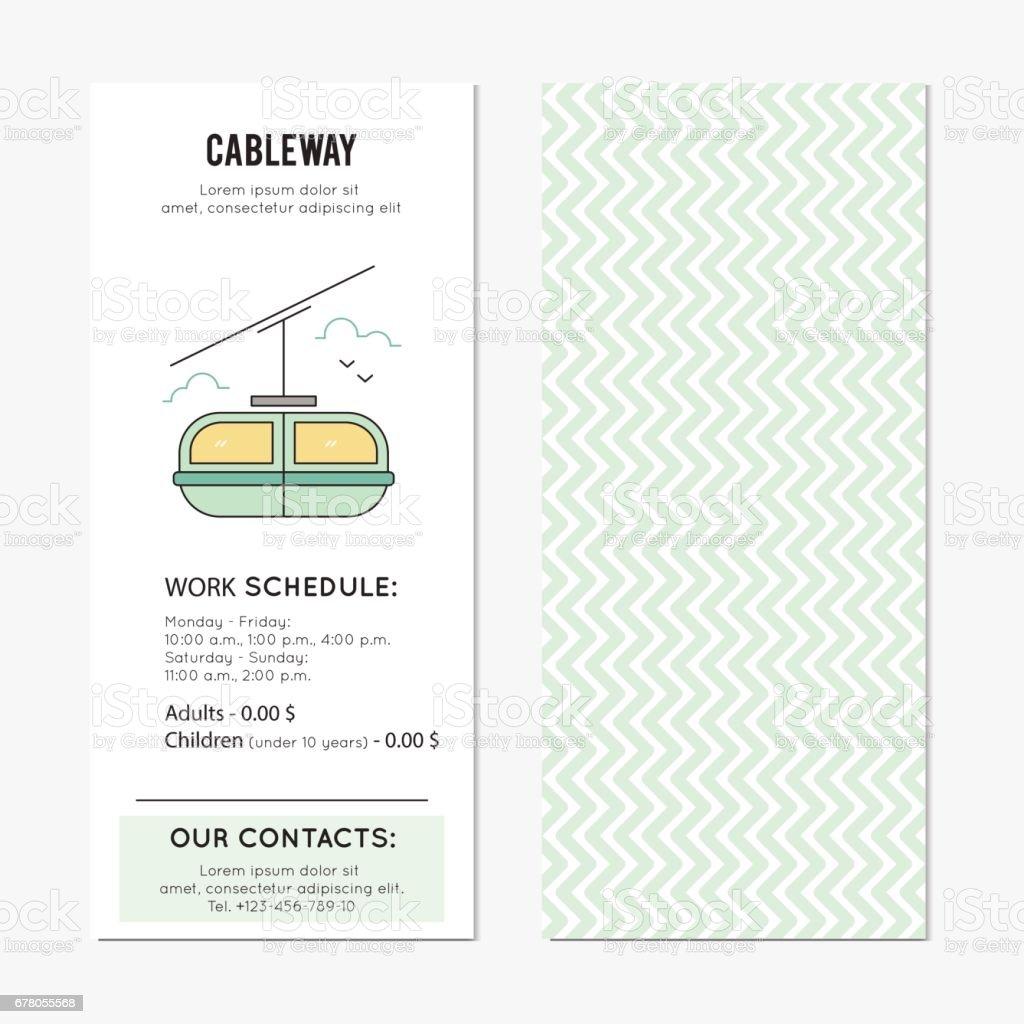 Cable car vertical banner vector art illustration