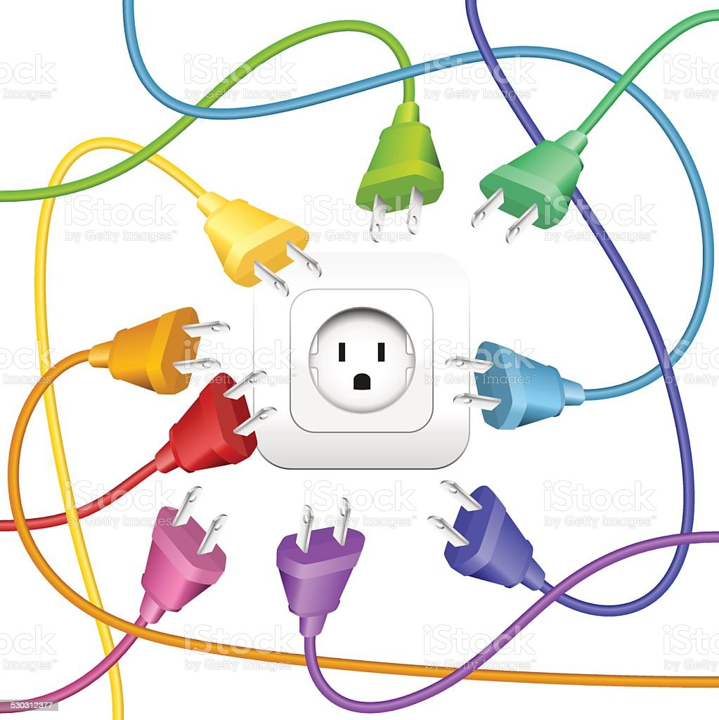 Cable Clutter Plugs Socket Colors vector art illustration