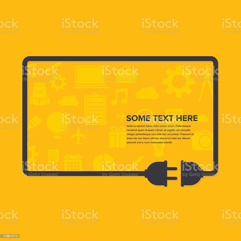 Cable in Yellow Background vector art illustration