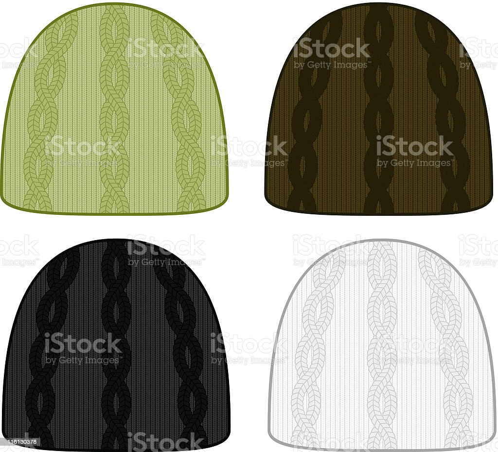 Cable Knit Toques vector art illustration