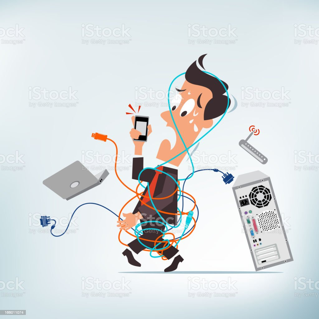Cable Mess vector art illustration