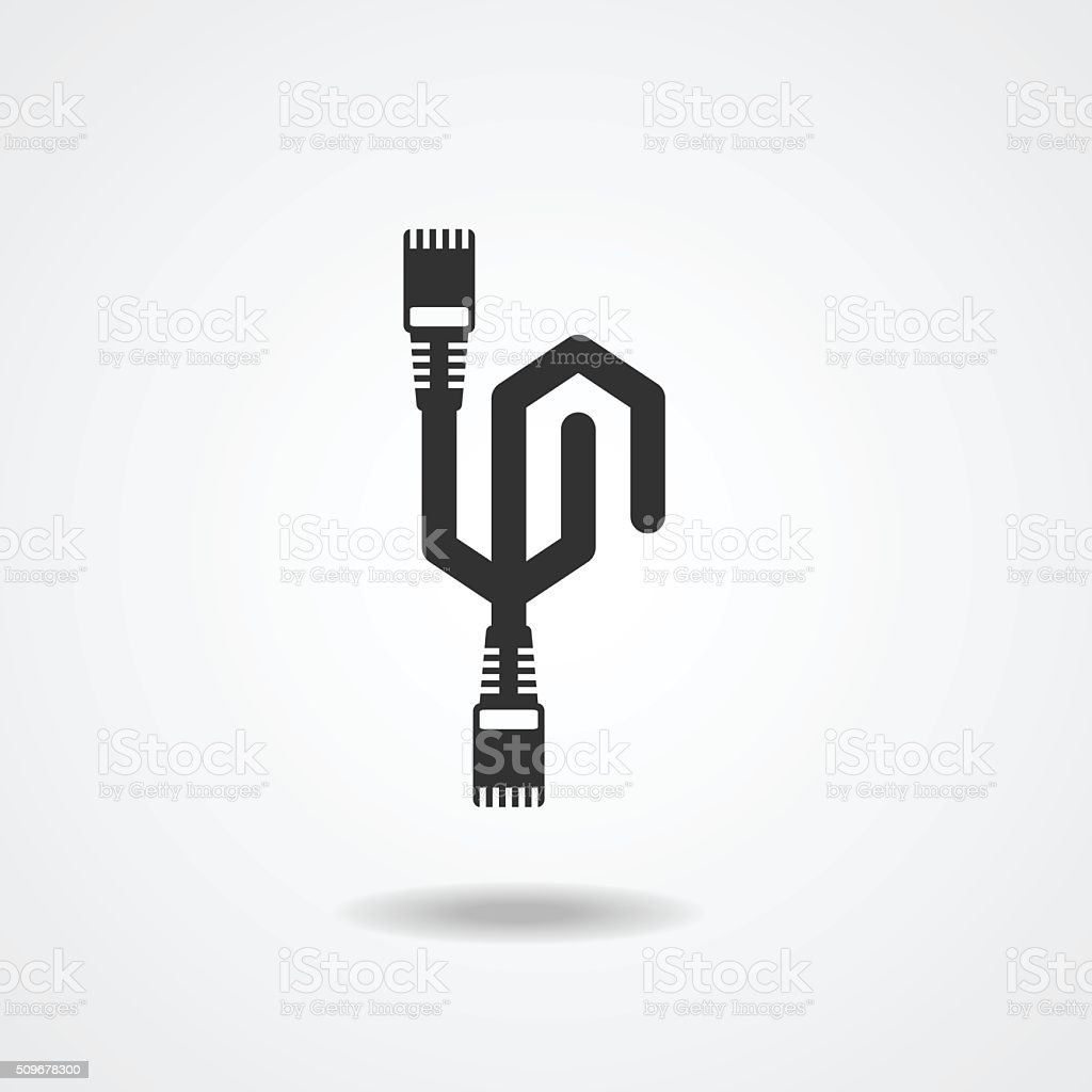 LAN Cable network  internet  Icon  silhouette vector vector art illustration