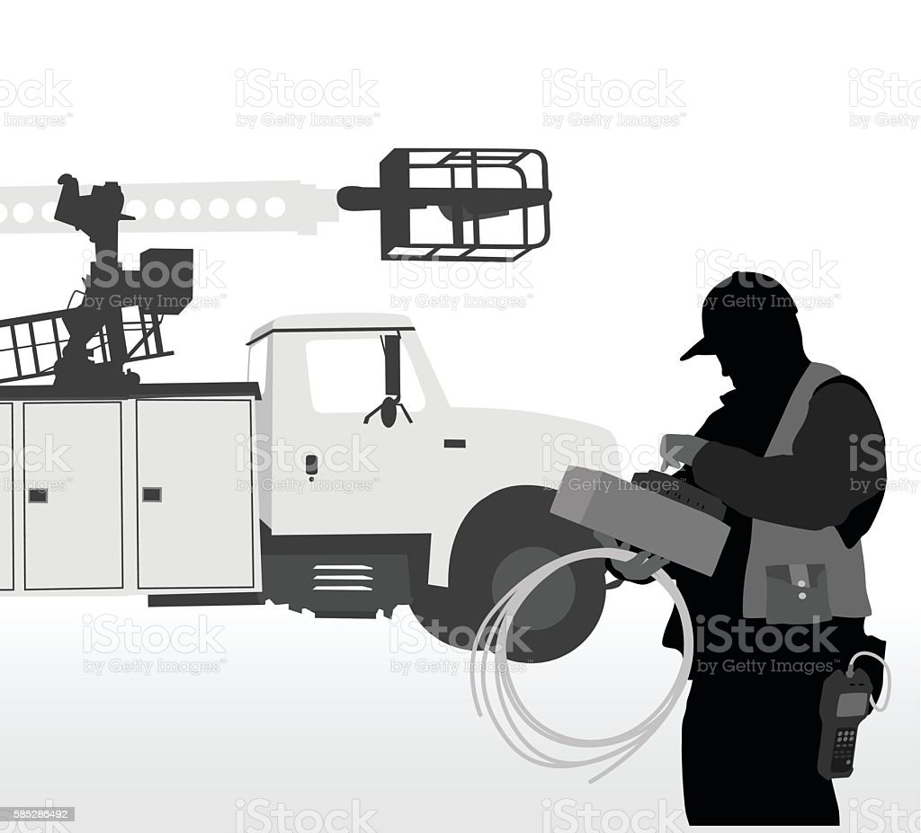 Cable Truck Worker vector art illustration