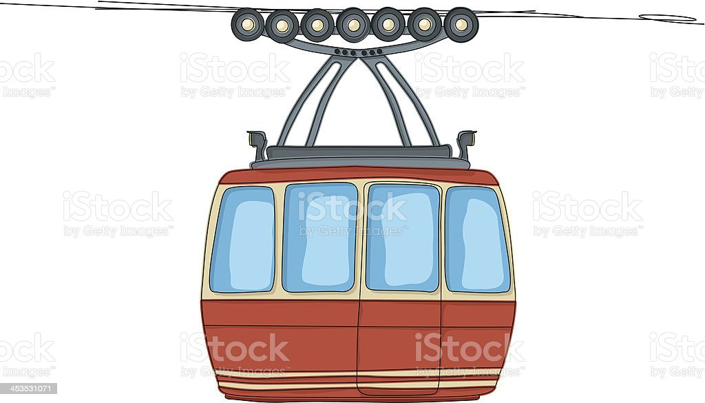 Cable-car on ropeway royalty-free stock vector art