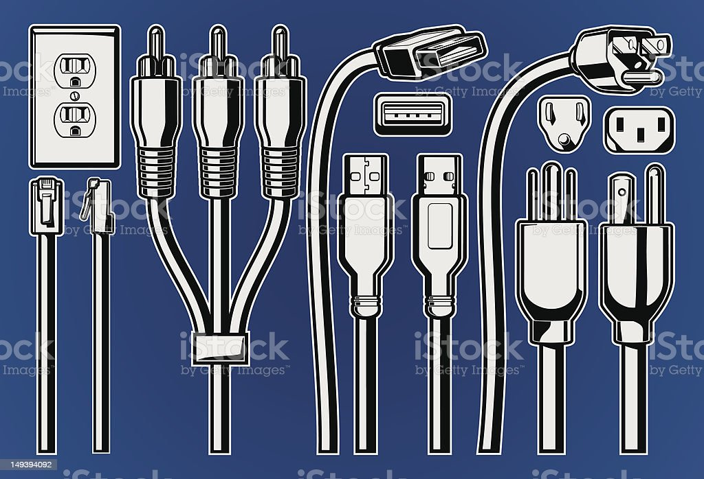 Cables and Plugs royalty-free stock vector art