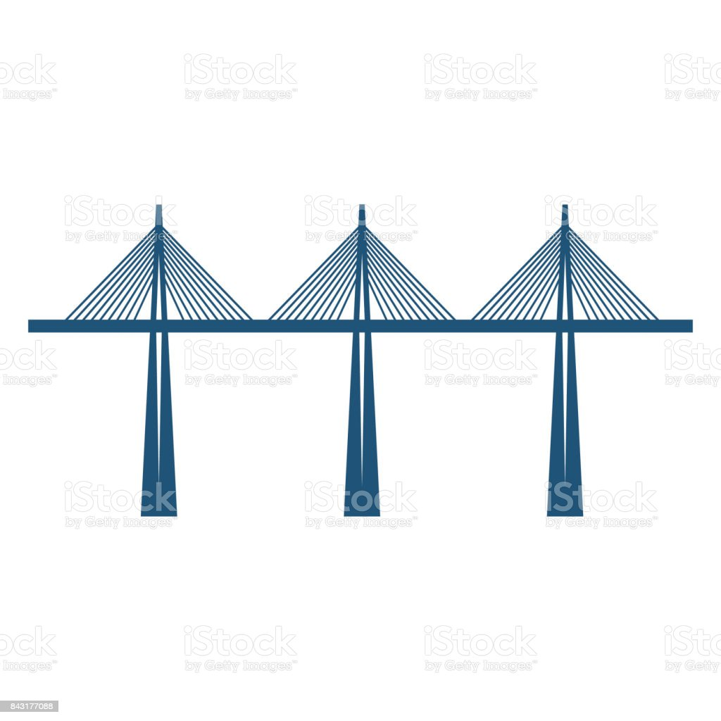 Cable-stayed bridge on three supports blue silhouette vector illustration vector art illustration