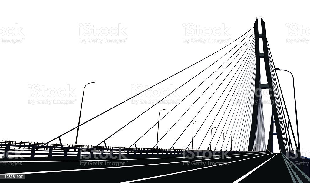 Cable-stayed Bridge royalty-free stock vector art
