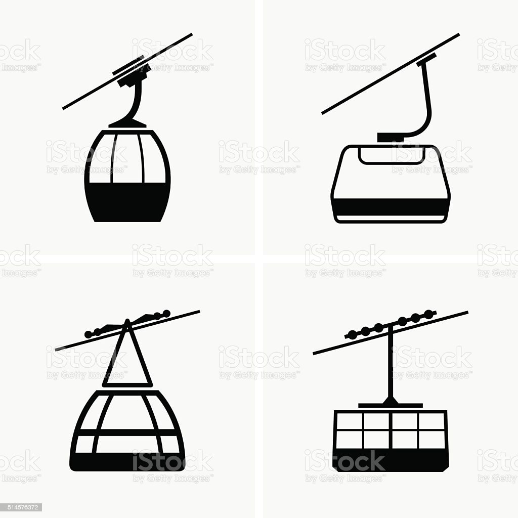 Cableway cabins vector art illustration