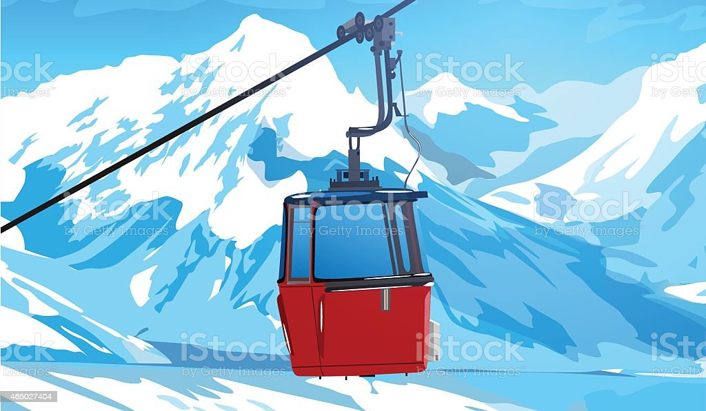 Cableway in Swiss Alps vector art illustration