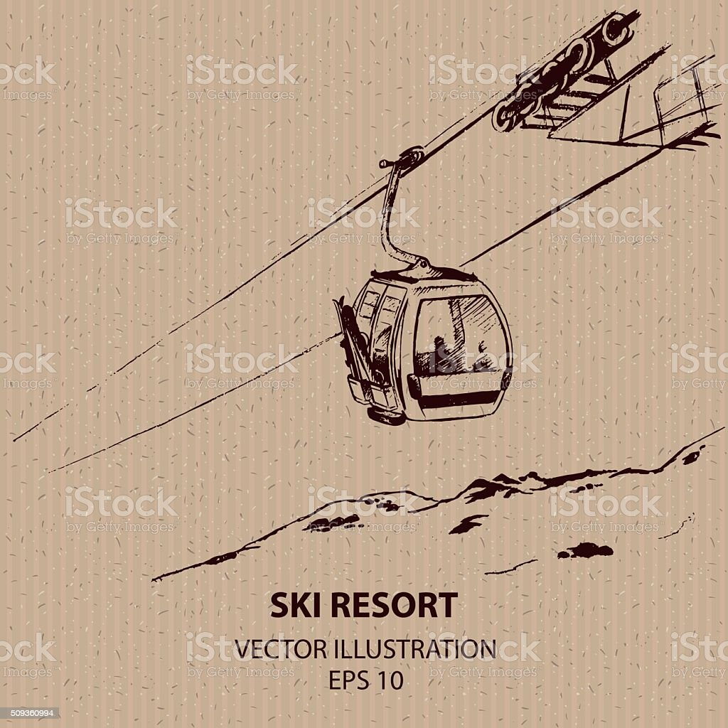 Cableway in the  Ski Mountain Resort. vector art illustration