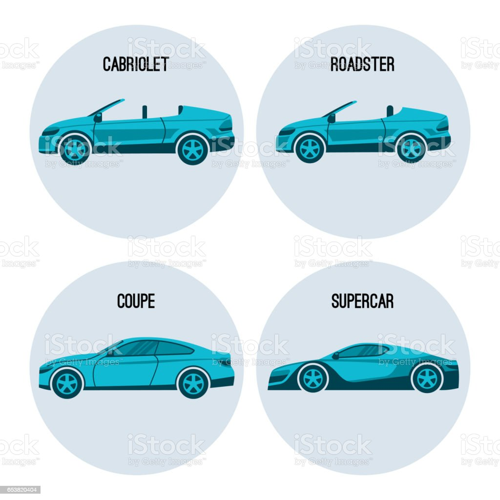 Cabriolet automobile, roadster spider, coupe twodoor car and supercar vector vector art illustration