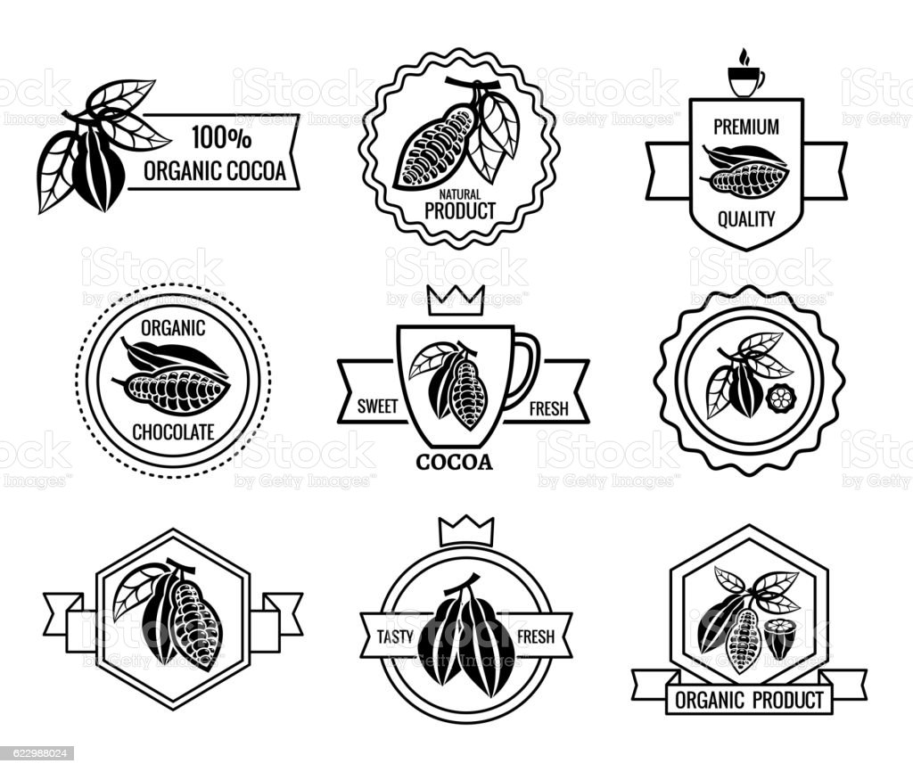 Cacao logo and chocolate labels set vector art illustration