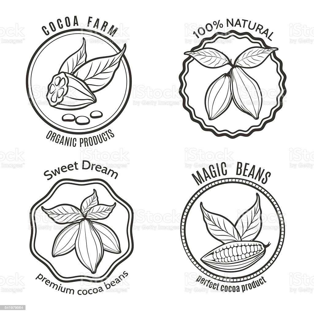 Cacao logo set vector art illustration