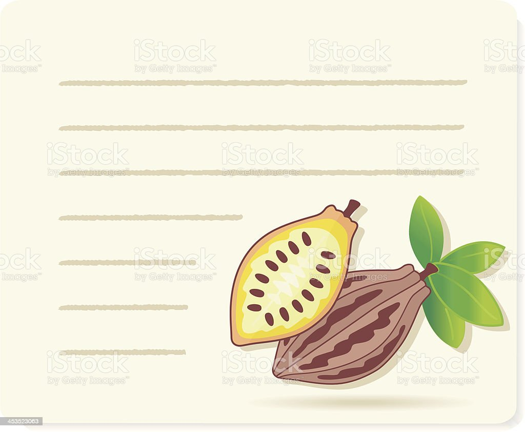 Cacaofruits on recipepaper. royalty-free stock vector art